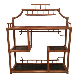 Pagoda Rattan Bamboo Wall or Floor Etagere Shelf For Sale