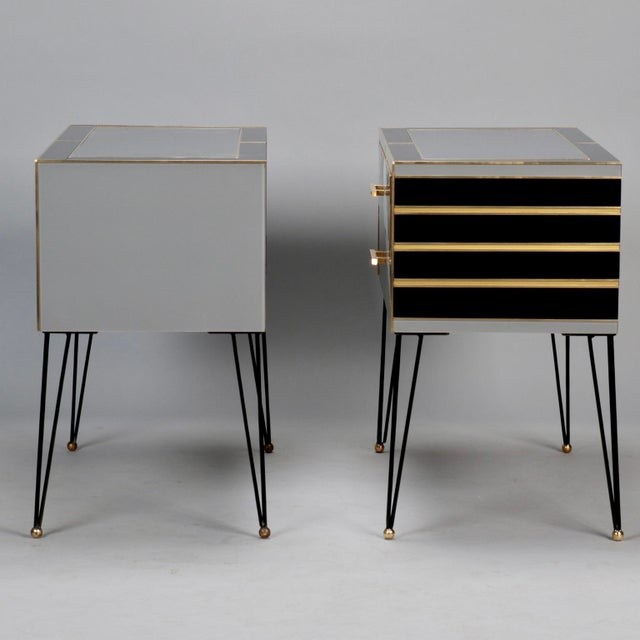 Italian Two-Drawer Cabinets with Murano Glass and Brass Inlays - A Pair - Image 6 of 11
