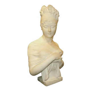 Carved Marble Bust For Sale