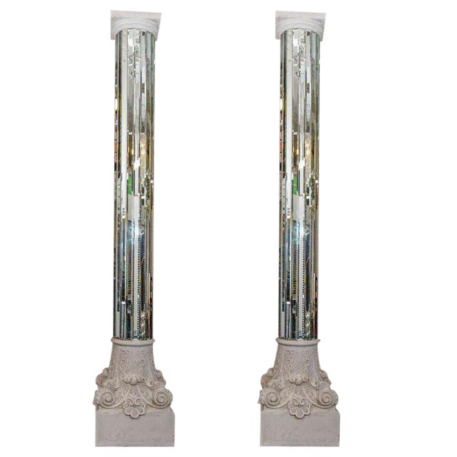 AMAZING MODERN NEO CLASSICAL MONUMENTAL PAIR OF MIRRORED WHITE COLUMNS For Sale