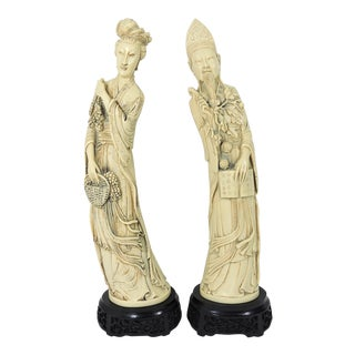 "Large Vintage Ivory Coloured Chinese Nobles, Statues or Figures on Stands - a Pair 20"" For Sale"