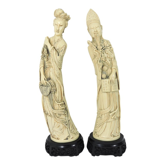 Vintage Ivory Coloured Chinese Nobles, Statues or Figures on Stands - a Pair For Sale