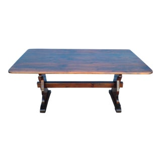 1970's Vintage Double Drop Leaf Gable Farmhouse Table For Sale