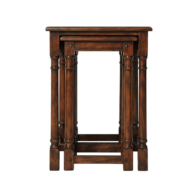 Jacobean Cherrywood Parquetry Nesting Tables - Set of 3 For Sale - Image 4 of 6