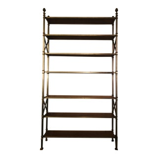 1960s Mid-Century Modern Etagere With Leather Wrapped Shelves For Sale