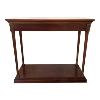 Neoclassical Style Cherrywood Console With Protective Glass Top For Sale