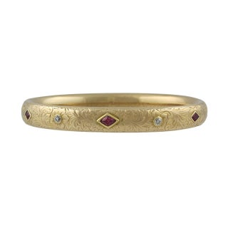 Bailey Banks & Biddle Gold Diamond Ruby Bangle Bracelet For Sale
