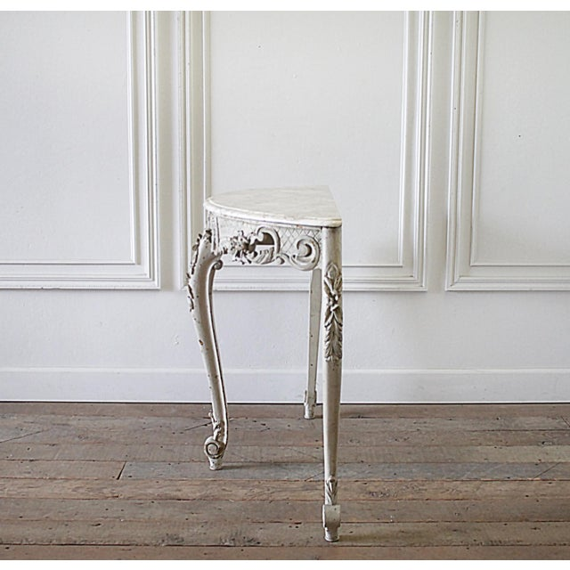 Early 20th century French carved console table with marble top Beautiful carved roses and flower details, and lovely Louis...