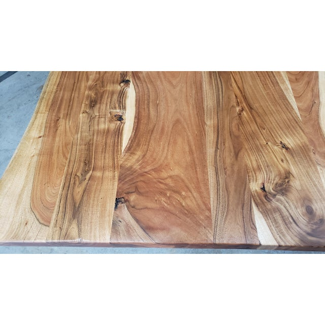 Rustic Rustic Live Edge, Acacia Wood Dining Table For Sale - Image 3 of 8