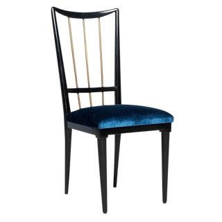 Mahogany Table & Blue Velvet Dining Chair Set
