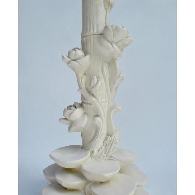 C1970s Vintage Asian-Style, Chinoiserie Plaster Carved Tiered Water Lily-Pad Orchid Lamp For Sale - Image 10 of 13