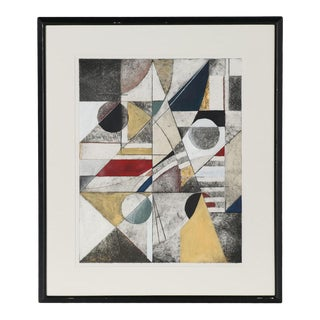 Vintage Cubist Abstract Mixed Media Composition by Richard Hall For Sale