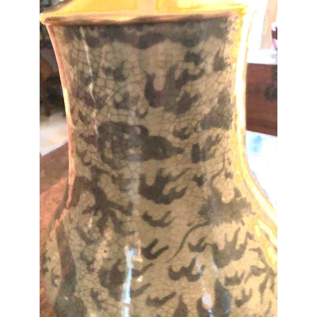 Ceramic Antique Chinese Hu Form Blue & White Smooth Glaze Ko Ware Vase Lamp For Sale - Image 7 of 12