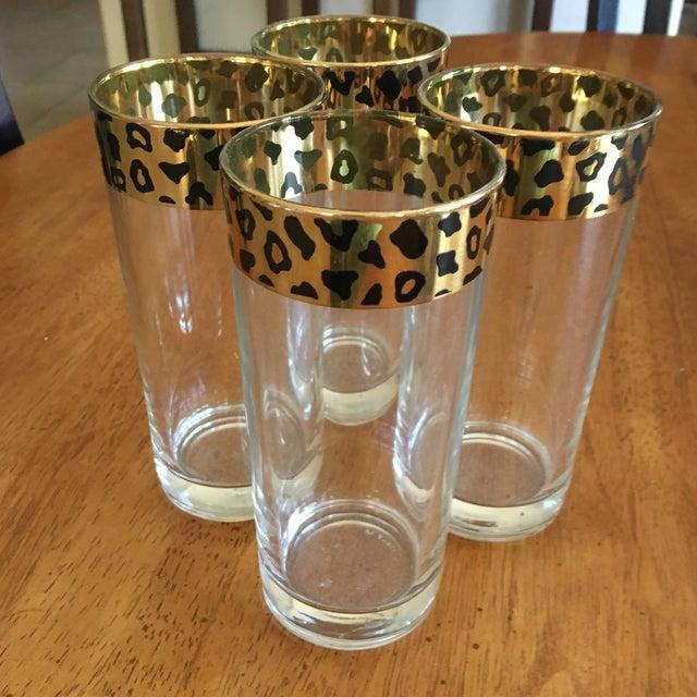 Italian Black & Gold Cheetah Print Glasses - Set of 4 - Image 10 of 10