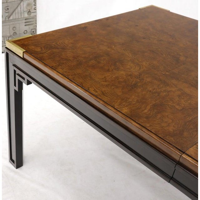 Large Burlwood Dining Table With Brass Accents and Two Extension Leaves Boards For Sale - Image 10 of 11
