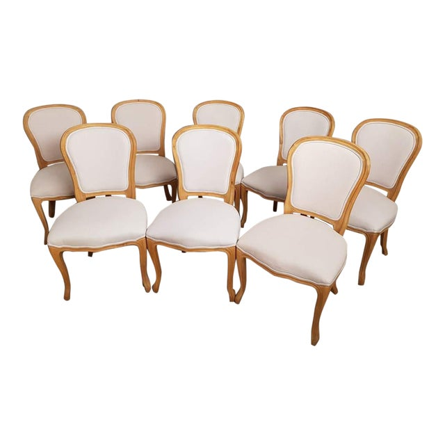 Set of 8 Louis XV French Natural Oak Dining Chairs Upholstered in Belgian Linen For Sale