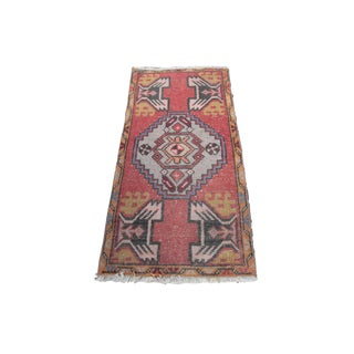 1970s Turkish Decorative Muted Red Tone Rug - 38'' X 19''