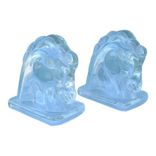 Art Deco Glass Horse Bookends - a Pair For Sale