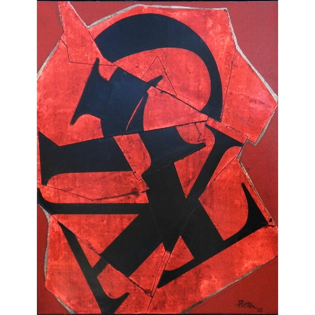 David Porter American 1912 -2005 Abstract collage oil and collage on canvas 30.5 x 24.5 in. Signed and dated 1975 on the...
