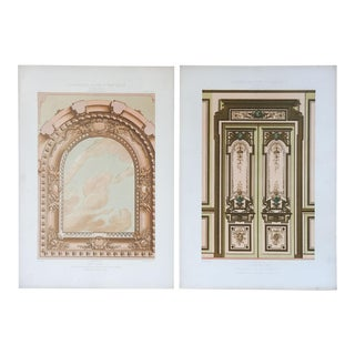 1870's Cesar Daly French Architectural Ornament Lithographs - a Pair For Sale