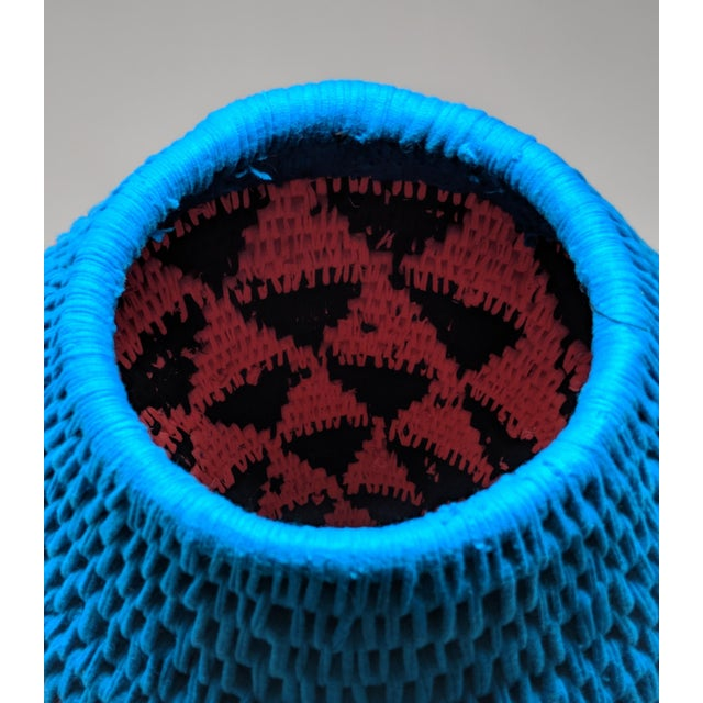 Blue African Woven Vase - Made in Swaziland For Sale - Image 8 of 13
