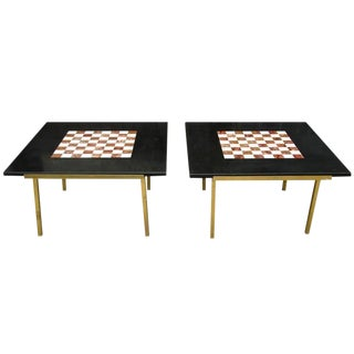 Pair of Marble Chess Top Brass Side Tables For Sale