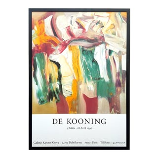 "Willem De Kooning Rare Vintage 1990 Abstract Expressionist Lithograph Print Framed Paris Exhibition Poster "" Untitled XI "" 1981 For Sale"