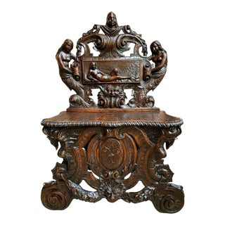 Antique French Carved Oak Renaissance Hall Bench Loveseat Chair For Sale