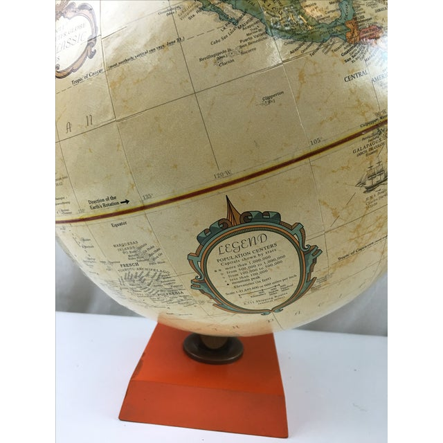 Terrestrial Globe with Orange Base For Sale - Image 4 of 6
