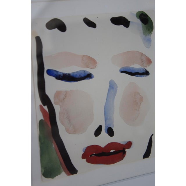 1960s Gestural Watercolor of a Female Face For Sale - Image 5 of 6
