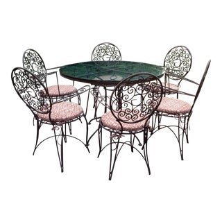 Vintage Wrought Iron Chairs & Table- 7 Pieces For Sale