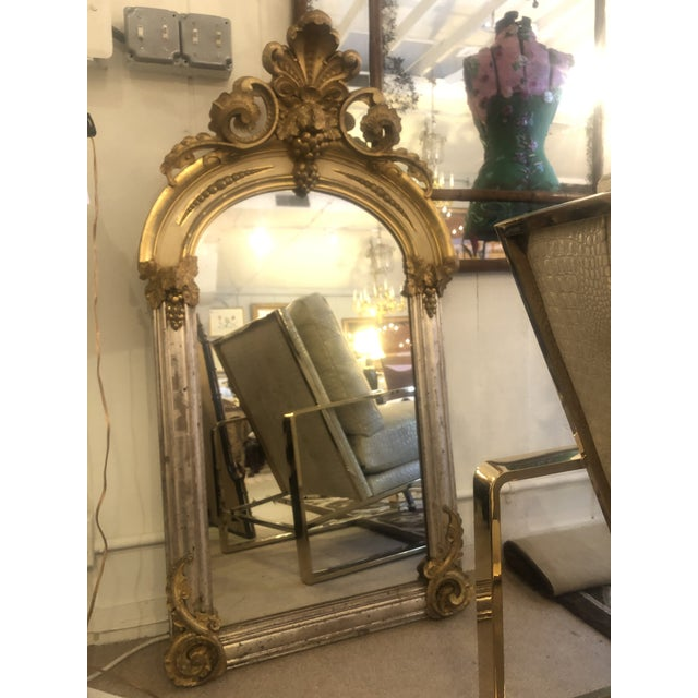 Belle Époque Parcel-Gilt and Lemon Silver Arched Wall Mirror For Sale - Image 11 of 13