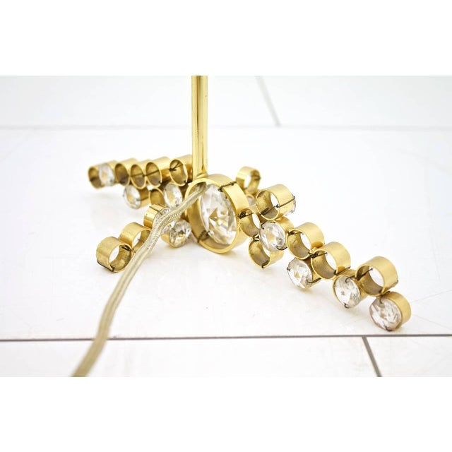 Metal Palwa Table Lamp With Crystal Glass and Gilded Brass Germany, 1960s For Sale - Image 7 of 8