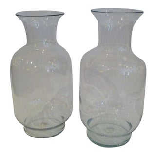 1970s Large Joel Myers for Blenko Classic Urn Form Crystal Vases - a Pair For Sale