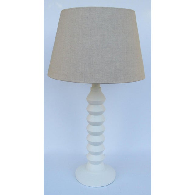 Vintage Mid-Century Modern Plaster Zig-Zag Tiered Lamp For Sale - Image 12 of 13