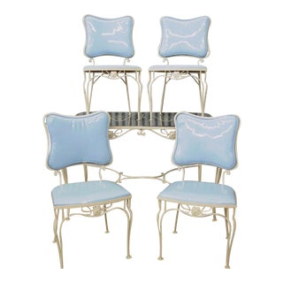 Vintage 5 Piece Blue Wrought Iron Patio Dining Set Table 4 Chairs Mid Century Woodard For Sale