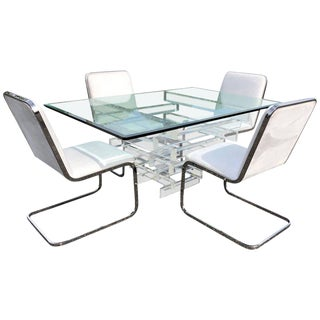 Hollywood Regency Lucite and Glass Dining Table With Chrome Chairs - Dining Set For Sale