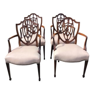 Antique Mahogany Shield Back Dining Chairs With Leather Seats -Set of 4 For Sale