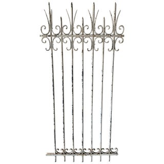 French Antique White Iron Garden Gate For Sale