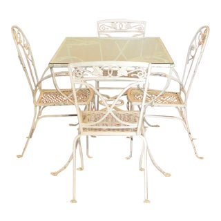 1960's Salterini White Wrought Iron Outdoor Dining Set- Set of 5