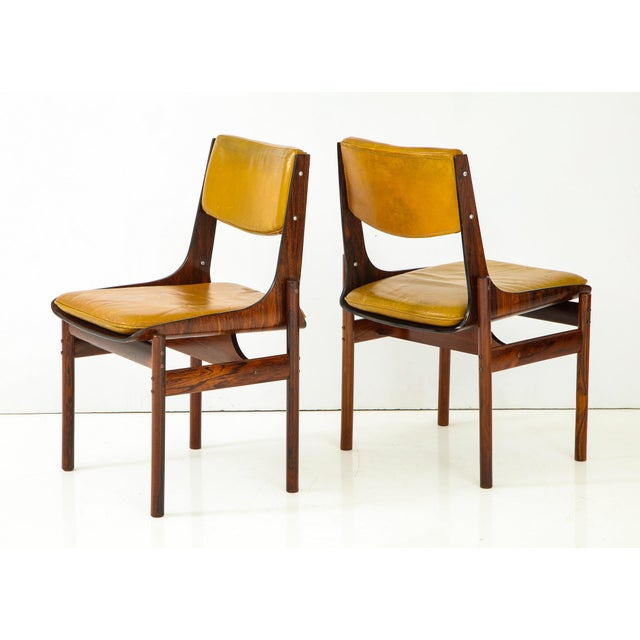 1960s Jacaranda and Leather Dining Chairs From Brazil - Set of 4 For Sale - Image 5 of 13
