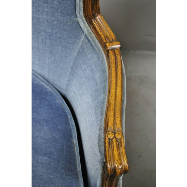 Vintage French Louis XV Provincial Blue Bergere Lounge Arm Chairs - a Pair For Sale In Philadelphia - Image 6 of 13
