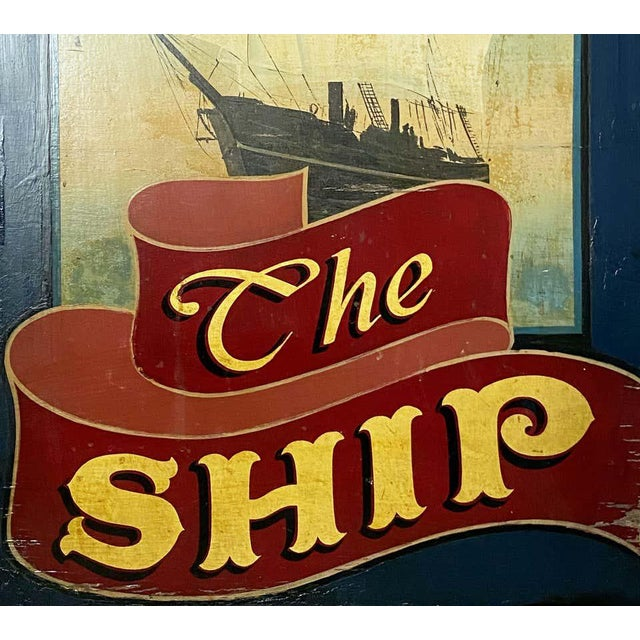 """Vintage English Pub Sign, """"The Ship"""" For Sale - Image 9 of 13"""
