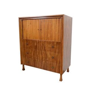 John Widdicomb Mid-Century Modern Mahogany Gentlemans Chest With Tambour Doors For Sale