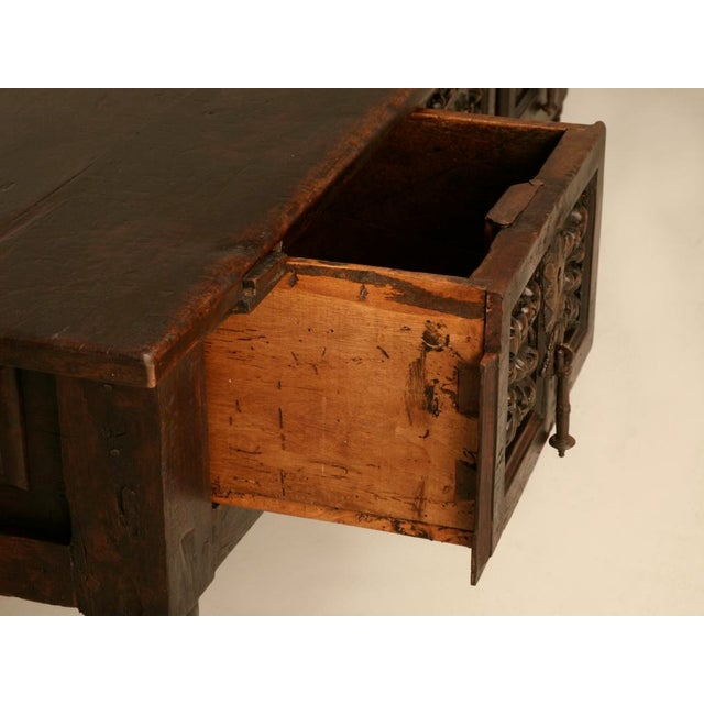 Mediterranean Spanish Console/Sofa Table with Three Deep Drawers For Sale - Image 3 of 10