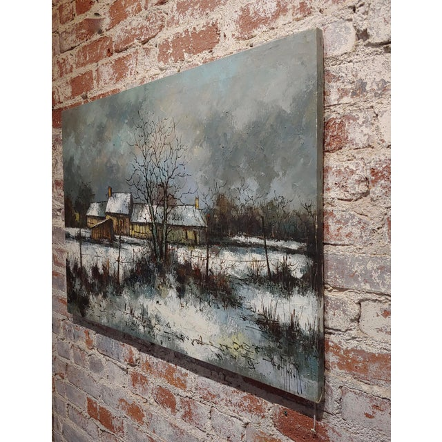 Black 1970s Cottage Oil Painting, Winter Countryside Landscape by Aldo Luongo For Sale - Image 8 of 10