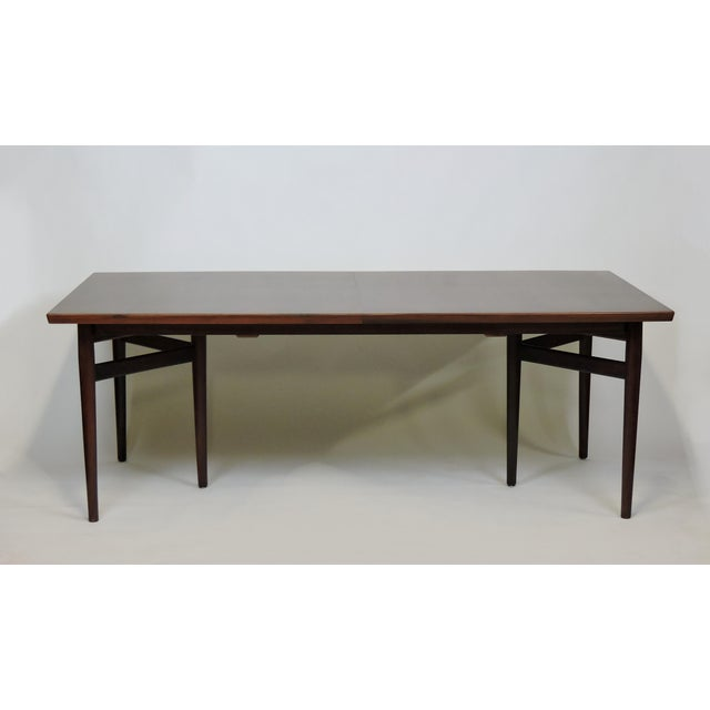 Wood Arne Vodder Expandable Danish Modern Rosewood Dining Conference Table Model 201 For Sale - Image 7 of 13