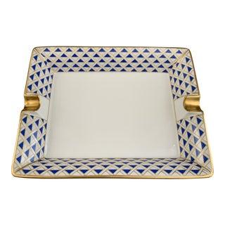 Blue and Gold Richard Ginori Hermès Style Ashtray For Sale