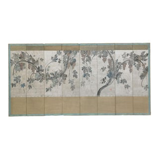 "Lawrence & Scott Japanese Style 8-Panel ""Grapes Arbor"" Hand-Painted Silver Foil Room Divider Screen For Sale"