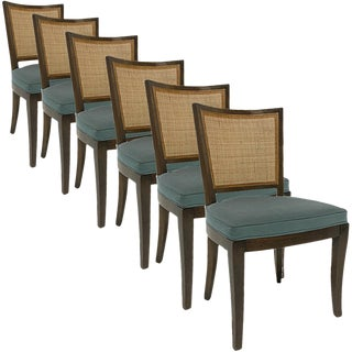 Set of 6 Forward Trend for Johnson Bert England Cane Back Dining Side Chairs For Sale